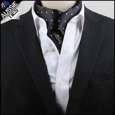 Men's Black with White Polka Dots Ascot Cravat