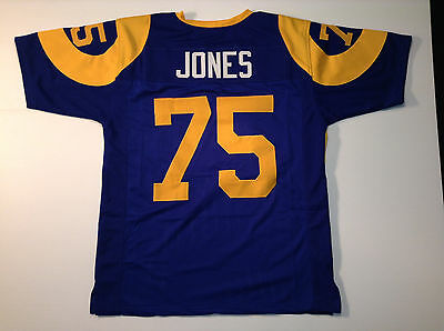 2de3a4764 UNSIGNED CUSTOM SEWN Stitched Deacon Jones Old Style Blue Jersey - M ...