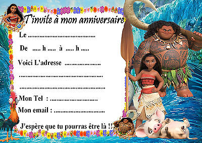 5 cartes invitations anniversaire Vaiana 01