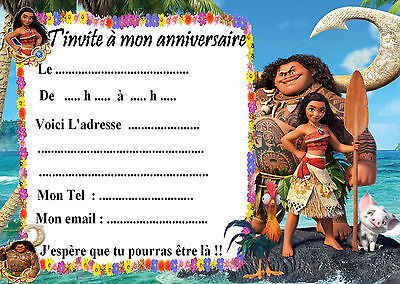 5 cartes invitations anniversaire Vaiana 04