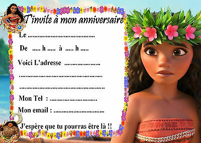5 cartes invitations anniversaire Vaiana 05