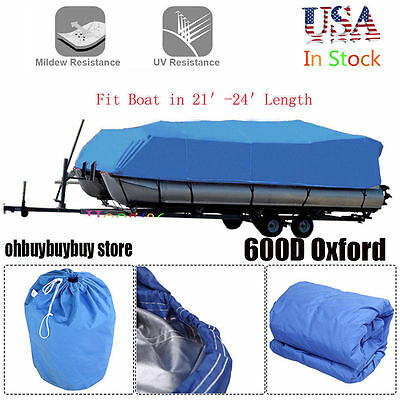 HOT 21-24 Ft Waterproof Heavy Duty Fabric Trailerable Pontoon Boat Cover Blue VP
