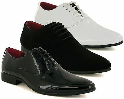 Mens New Shiny Patent Smart Lace Up Wedding Formal Pointed Oxford Shoes Size