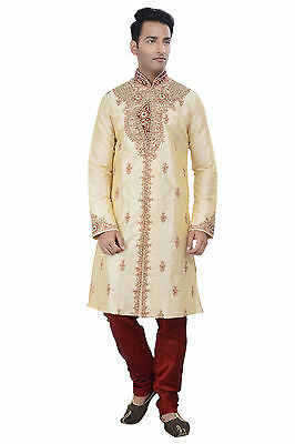 Indian Design Gold Kurta Sherwani for Men 2pc Suit - Worldwide Postage