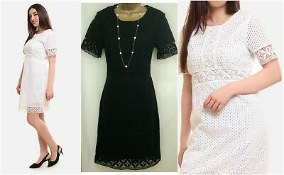 New Ex M&s Marks & Spencer Black White Panelled Broderie Cotton Shift Dress 8-22