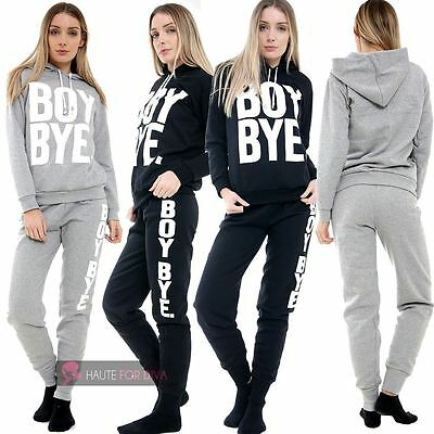 New Ladies Boy Bye Print Two Piece Hooded Lounge Set Wear Tracksuit Uk 8-14