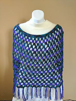Beautiful PURPLE & BLUE Crocheted PONCHO - One Size fits Most S to XL