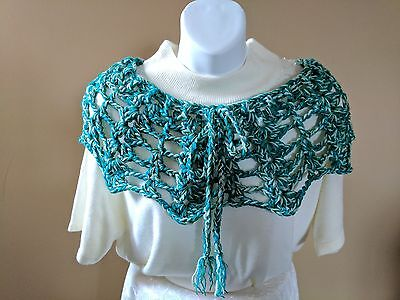 Short Capelette or Poncho in GREEN Shades - One Size fits Most