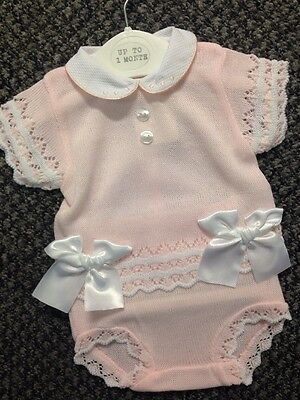 Girls Spanish  Pink Lacey Knittted set with Bow Top & Jam Pants Newborn-18 Mth