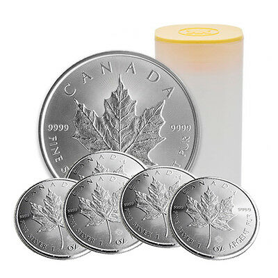 2017 1 oz Silver Canadian Maple Leaf Coins BU - (Lot, Roll, Tube of 25)