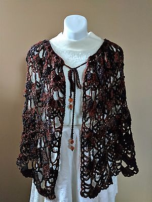 Elegant Crochet Lacy Wrap CAPE SHAWL in BROWN with Beaded Tie-Up - ONE SIZE