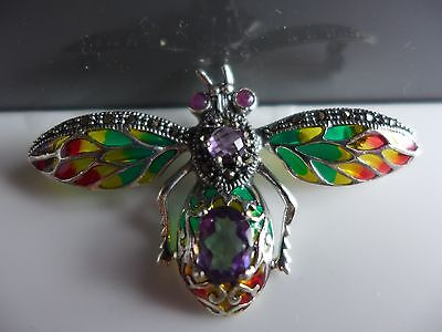14ct gold on 925 silver plique a jour and amethyst  butterfly  brooch