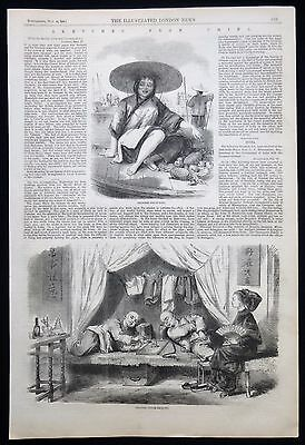 Chinese Opium Smokers Den Drugs Trade China Victorian Print / Article 1858