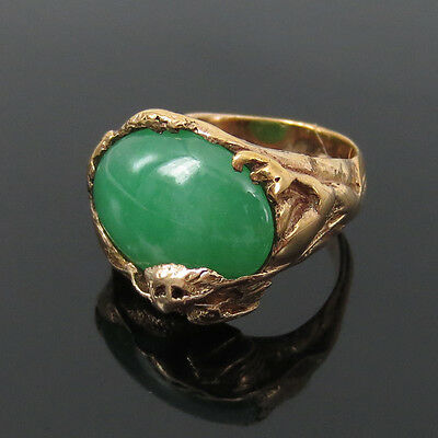 Antique Art Nouveau Natural Jadeite Jade & 14K Hand Made Gold Dragon Ring -7.75