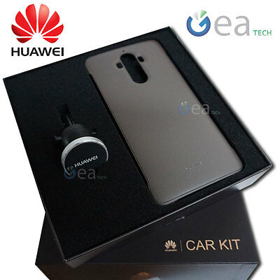 Car kit ORIGINALE HUAWEI Cover Magnetica Pelle BROWN + supporto auto Per Mate 9