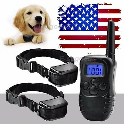 Pet Dog Training Collar Bark Stop Electric LCD 100 Level Shock (Two Collars)
