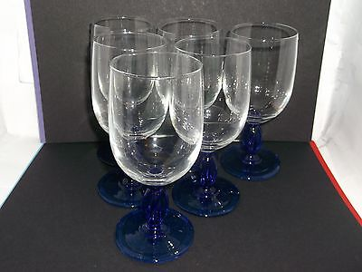 A set of SIX Luminarc, French, Wine Glasses with Cobalt Blue Barley Twist stems