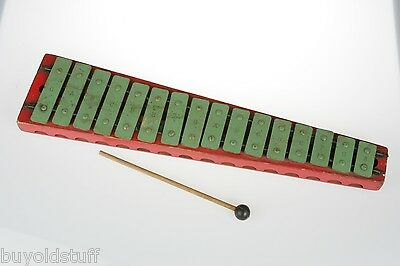 OLD Vintage RED GREEN WOODEN Xylophone For Hanging On a Wall MUSICAL MUSIC DECOR