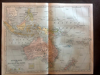 Antique Map Australia and Islands of the Pacific 1901 Matthews Northrup Company