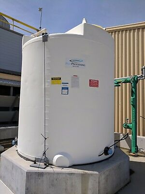 """2000 Gallon Poly Processing Vertical Poly Tank, 85"""" Diameter, 97"""" SS, coned top"""