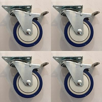 "4"" x 1-1/4 Polyurethane Total Lock Caster Set of (4)"