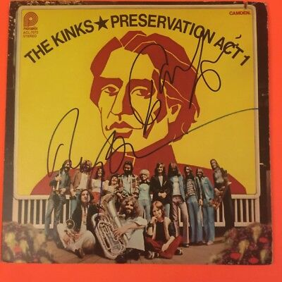 The Kinks Preservation Act 1 Ray Davies Dave Davies Signed Record Album
