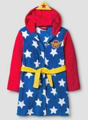 DC Comics Girls' Wonder Woman Long Sleeve Robe - Blue/Red - Size: SP