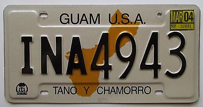 Guam USA 2004 TANO Y CHAMORRO License Plate HIGH QUALITY # INA4943