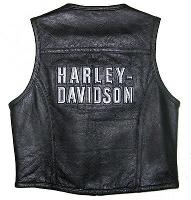 Harley Davidson CLASSIC Leather Vest Embroidered 97191-01VW WOMENS MEDIUM MINT