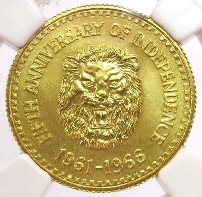 1966 Gold Sierra Leone 1/4 Golde Lion Coin Ngc Mint State 68
