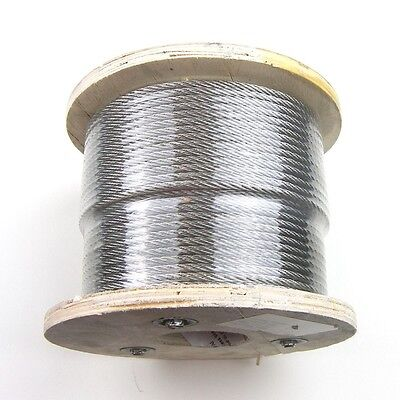 """1,000ft Stainless Steel Type 316 Wire Rope 7x7 - 3/32"""" - Cable - Marine Fishing"""