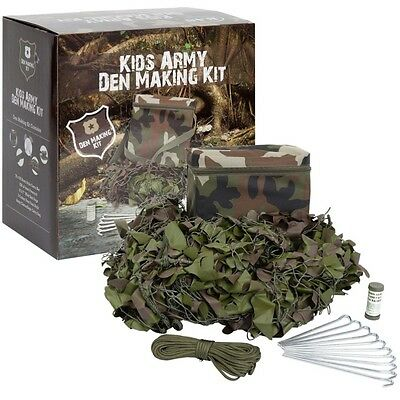 Kas Kids Army Complete Den Kit Camo Net Paracord Pegs Face Paint Bag Outdoor