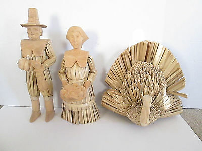 "Folk Art Pilgrim Man Woman & Turkey Corn Husk Wood Straw 15"" Man 12"" Woman RARE"