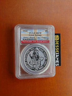 2016 Great Britain Silver Queen's Beast Lion Pcgs Ms70 2 Troy Ounce Pop 36!