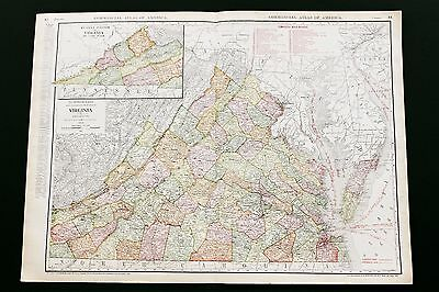 1913 Virginia Railroad Map Routes Commercial Counties Large Original RARE