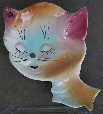 Vintage Decorative Hanging Cat Plate Ash Tray Spoon Rest Porcelain SHAWNEE 1940s
