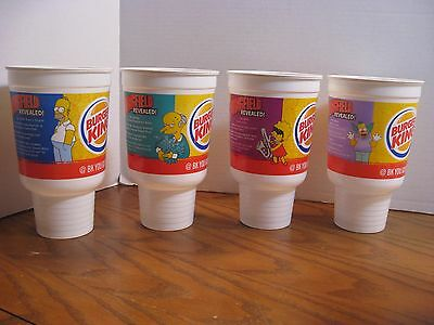 Burger King- The Simpsons - Set of 4 - 42 oz. Plastic Cups -Springfield Revealed
