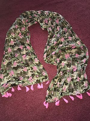 NWOT Justice Girls Green And Pink Gold Metallic Fringe Scarf With Skulls