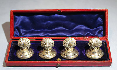 Birmingham Sterling Silver Shell Four Boxed Place Cards Charles Penny Brown 1907