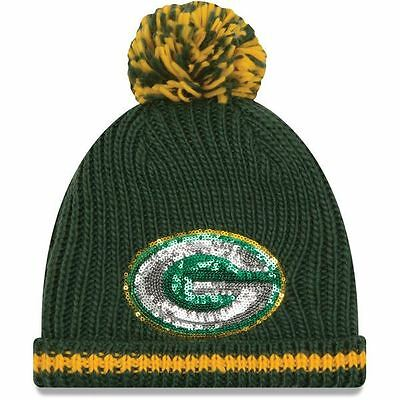 Green Bay Packers Women's Sequin Frost Beanie Knit Hat With Pom