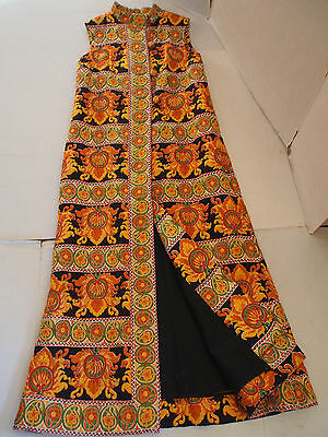 Vtg 60's Hand Made Maxi Vest Tunic~Quilted Silk~Hippie Boho~Orange~GORGEOUS~L XL