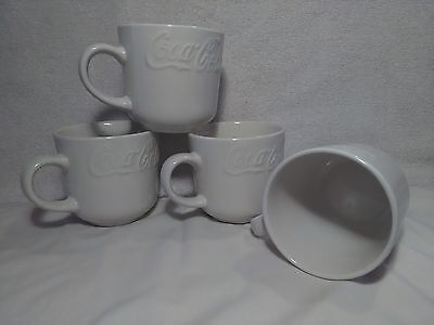 Gibson Coca Cola White Embossed Mugs Cups Set of 4