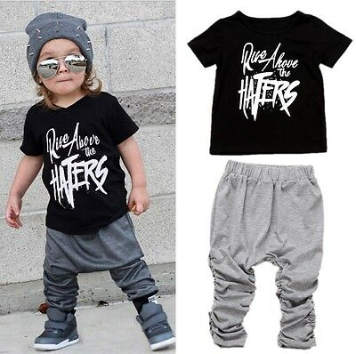 2PCS Casual Toddler Kids Boys Summer Tops T-shirt Pants Outfits Set Clothes 1-6T