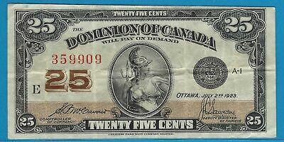 1923 25 Cent Dominion Of Canada  Bank Note McCavour/Saunders  E 359909  DC-24c