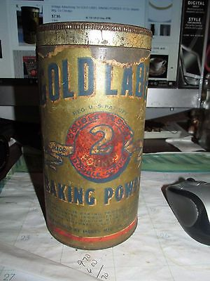 Antique 2 Lb. Gold Label Baking Powder Tin Can With Paper Label
