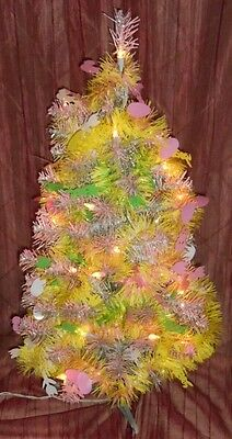 """25"""" Tall Flock Easter Christmas Tree w/Tinsel Easter Garland-33 Lights-80 Tips"""