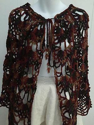 Lace Crocheted Shawl Wrap in Fall Colors with Beaded Tie-Up - Poncho Alternative
