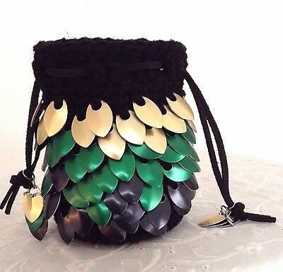 Dragon Scale Dice Bag with Gold, Green & Black Metal Scales - HANDMADE CROCHETED