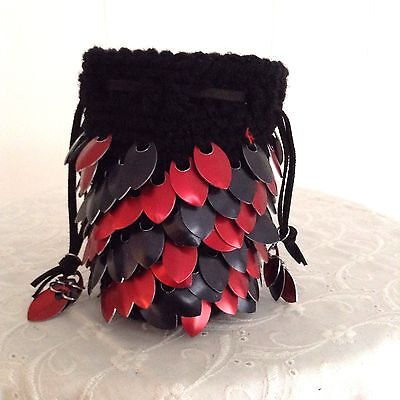 Dragon Scale Dice Bag with Red & Black Metal Scales - HANDMADE CROCHETED