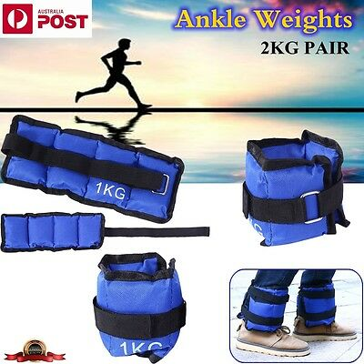 2x 1KG Ankle Wrist Weights Leg Sandbag Strap GYM Equipment Yoga Fitness Training
